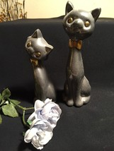 Cat Figurines Brushed Polished Silver Tone/Gold Tie - $10.88