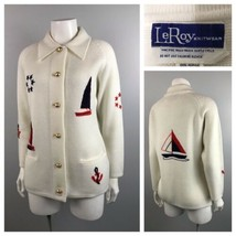 1960s Cardigan Sweater / Nautical Sailboat Novelty Button Up Sweater / S... - $49.00