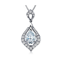 Fashion Women Sterling Silver Zircon Drop Pendant - $16.99