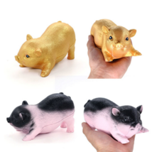 Soft Gold Black Pig Squishy Squeeze Fun Kid Toy Gift Stress Reliever Decor New - $6.49