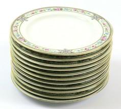 Set of 11 Vintage Hutschenreuther Side Plates, Blue Pink Floral Gold, Bavaria - $79.19