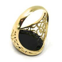18K YELLOW GOLD BAND MAN RING, NAUTICAL ANCHOR, FINELY WORKED, BLACK ENAMEL image 5