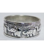 SOLID 925 Sterling Silver Baby ELEPHANT Walk Ring Sz 8.25 Ladie's Band T... - $24.99