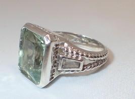 Estate Gems en Vogue Michael Valitutti 7 Carat Green Amethyst CZ Ring SZ 7 - $93.49