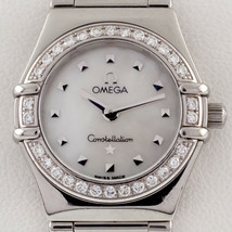 OMEGA Donna Quarzo Acciaio Inox Constellation Watch Quadrante Mop Diamante Bezel - $2,207.92