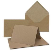 50x sehr schweres Vintage Kraftpapier Falt-Karten SET mit Umschlägen DIN... - $43.23