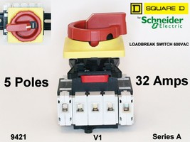 Square D Loadbreak Switch 5 Pole 32 Amps Series A Class 9421 V1 DIN Rail mount. - $106.70