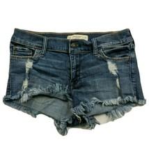 Abercrombie & Fitch Womens Denim Booty Shorts 00 Distressed Raw Hem Stretch - $23.76