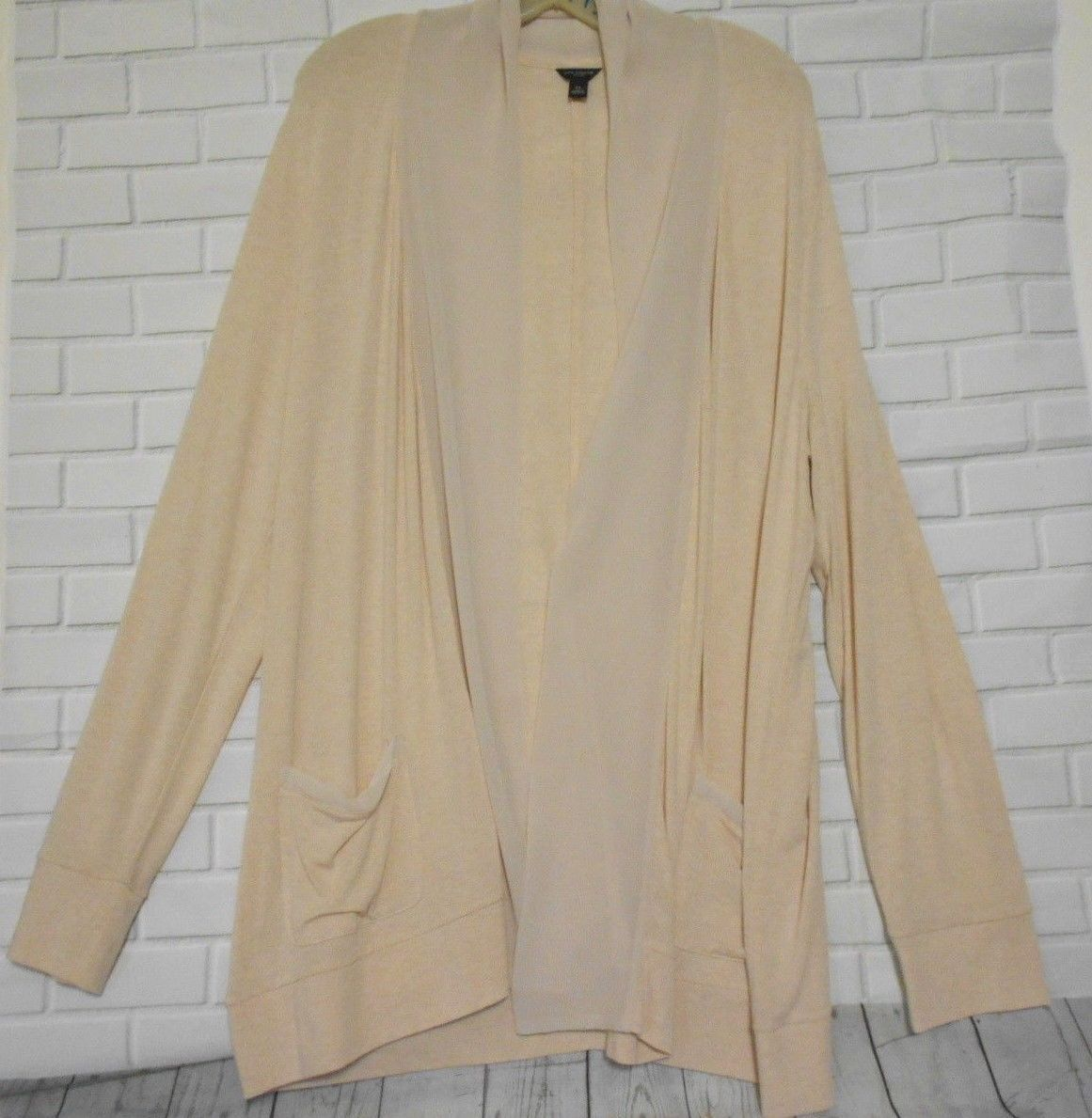 Ann Taylor Pale Peach X Large Open Flare Long Sleeve Cardigan Sweater - $18.60