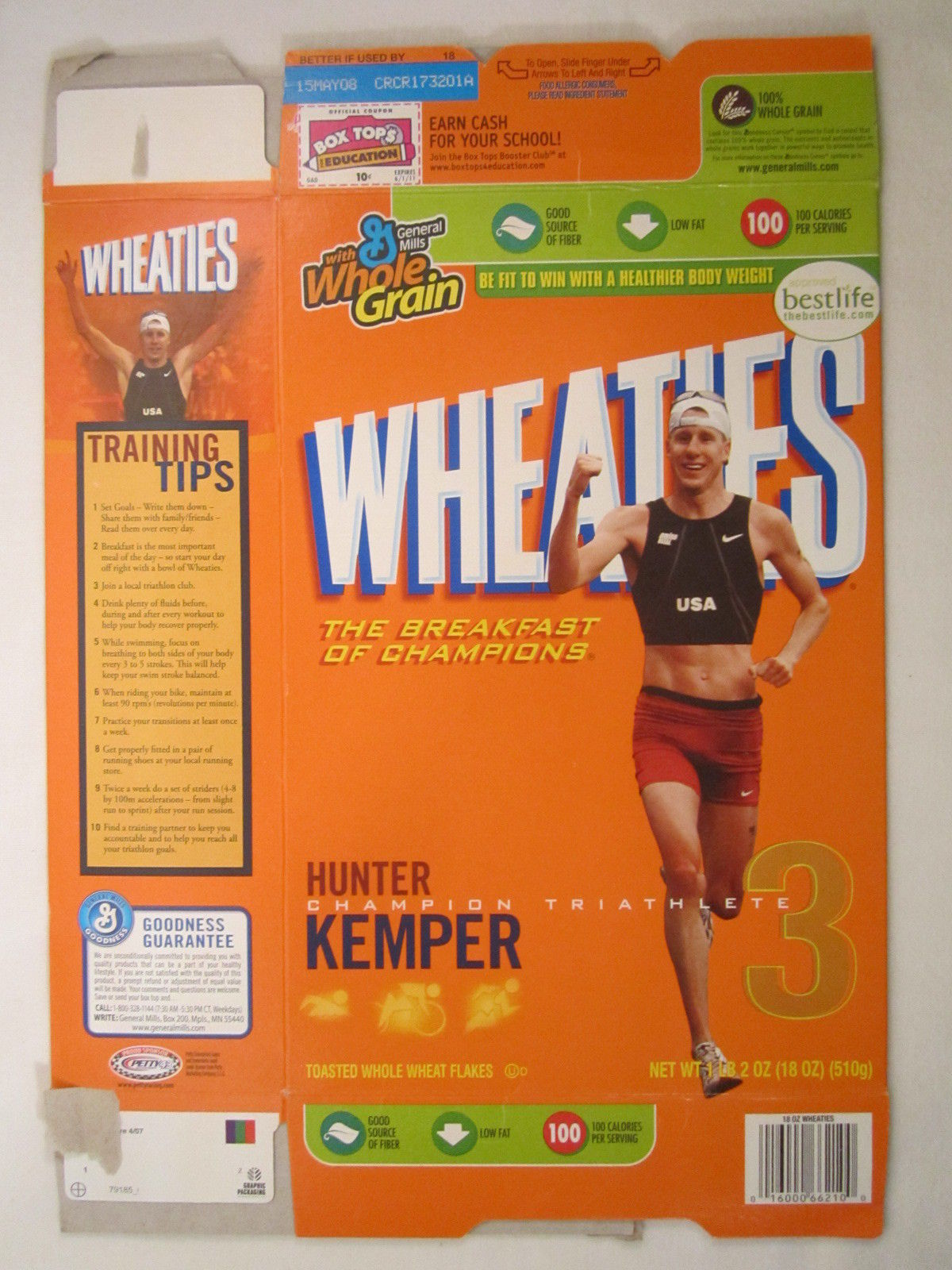 Primary image for MT WHEATIES Box 2007 18oz HUNTER KEMPER  Triathlete Champion [G7E13h]
