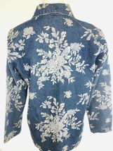 DENIM & CO Women's Jacket Blue Jean Floral Rose Flower Graphics Size Small $75 image 3