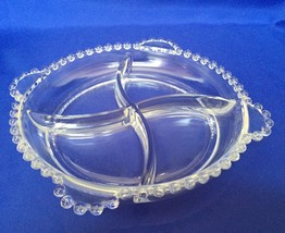 Imperial Glass Candlewick Relish Divided Dish 4 Section Side Handles 8 1/4 Inch - $7.87