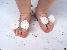 Baby Bow Barefoot, 100% linen Knitted/Crochet Baby Barefoot Sandals, Whi... - $5.50