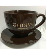 Godiva Cocoa Brown Mug Cup and Saucer 16 oz - $14.99