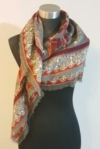 Unbranded Large Multi Color Print Square Scarf Maroon Gray Tan  - €5,92 EUR