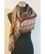 Unbranded Large Multi Color Print Square Scarf Maroon Gray Tan  - $6.44