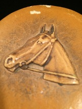 Vintage 1940s Tan Leather Horse Portrait Makeup Compact with Mirror image 6