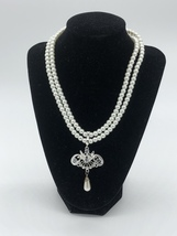 Vintage Costume Pearl Necklace with a Pendant and Earrings with CZ stones - $35.49