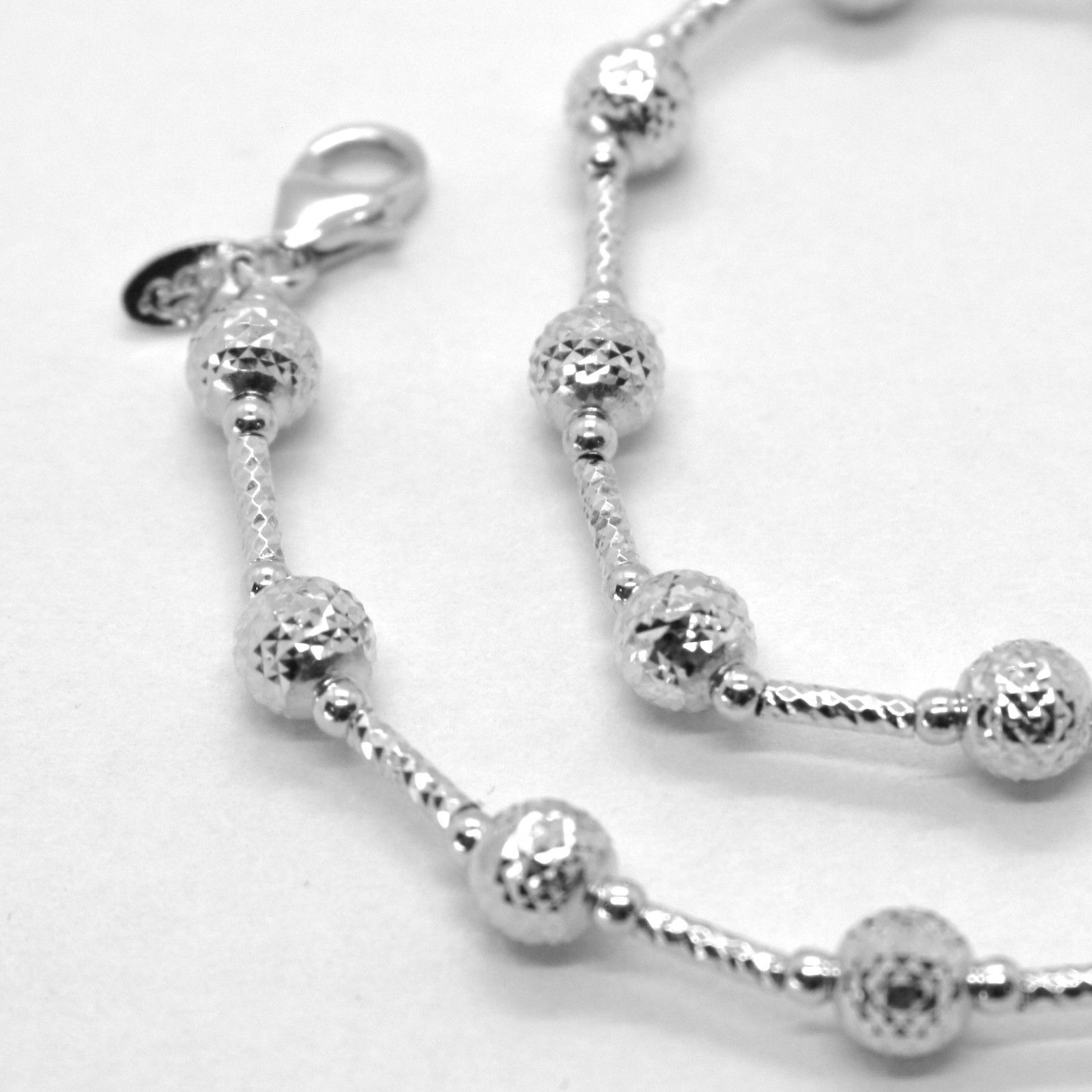 18K WHITE GOLD CHAIN FINELY WORKED 5 MM BALL SPHERES AND TUBE LINK, 15.8 INCHES