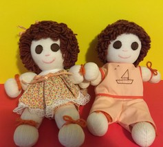 Rag Sock Dolls Handcrafted Orange Outfits Vintage Collectibles Gift - $18.70