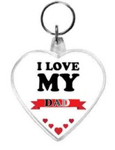 keyring double sided heart, love my dad design, keychain