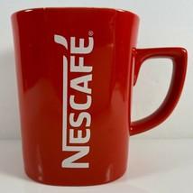 Vintage NESCAFE 12 oz Square Red Coffee Cup Mug - $16.78