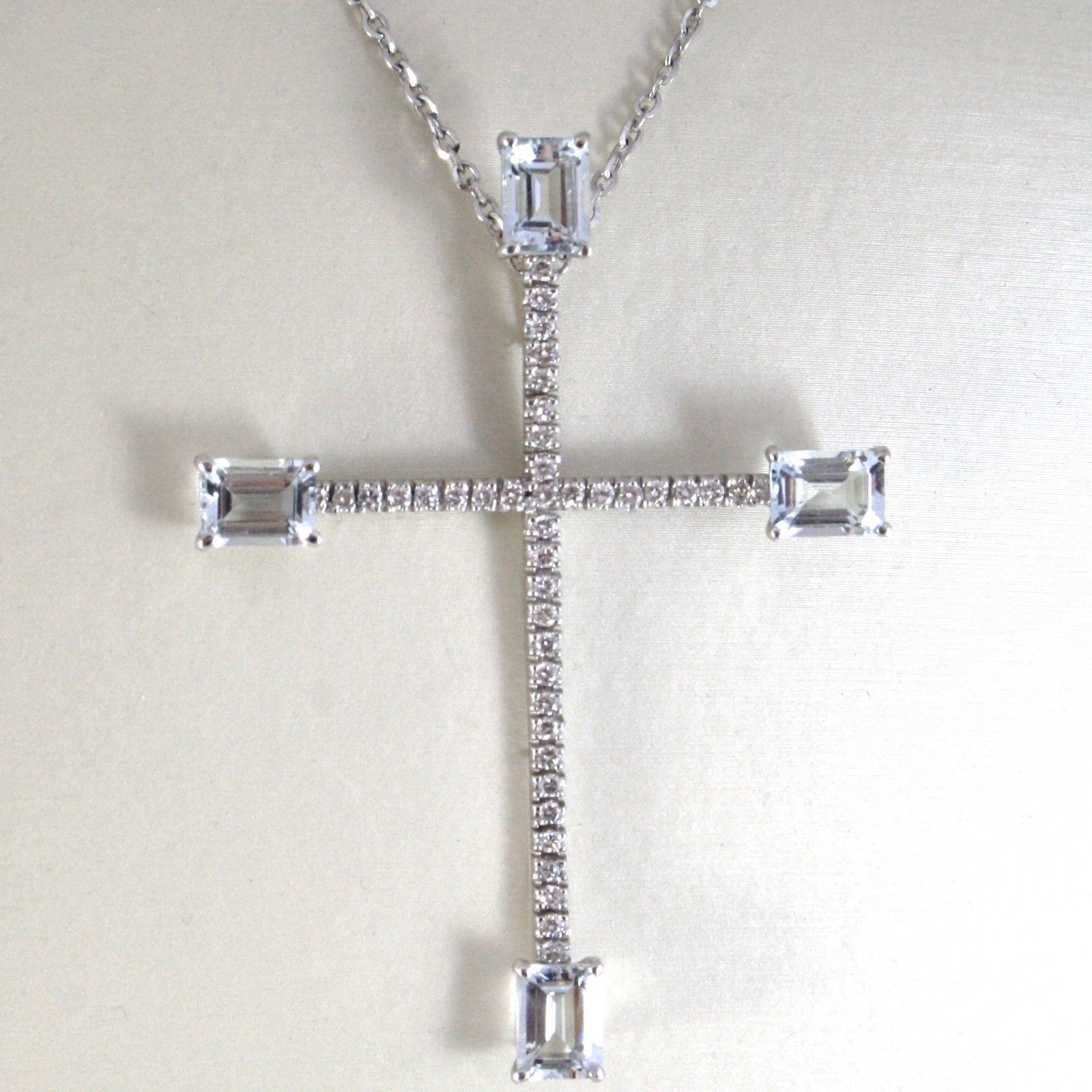 NECKLACE WHITE GOLD 750 18K,PENDANT CROSS AQUAMARINES AND DIAMONDS,CHAIN ROLO'