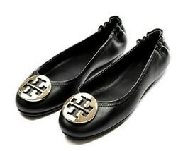 Nwt Tory Burch Minnie Ballet Logo Flats Comfort Slide Black Gold 50393 Free Shp - $228.00