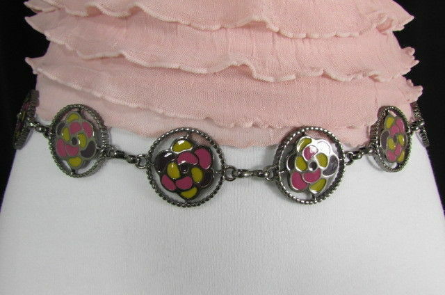 Donna Peltro Metallo Bling Moda Cintura Rosa Fiore Giallo Ciondolo Hip Vita S M image 10