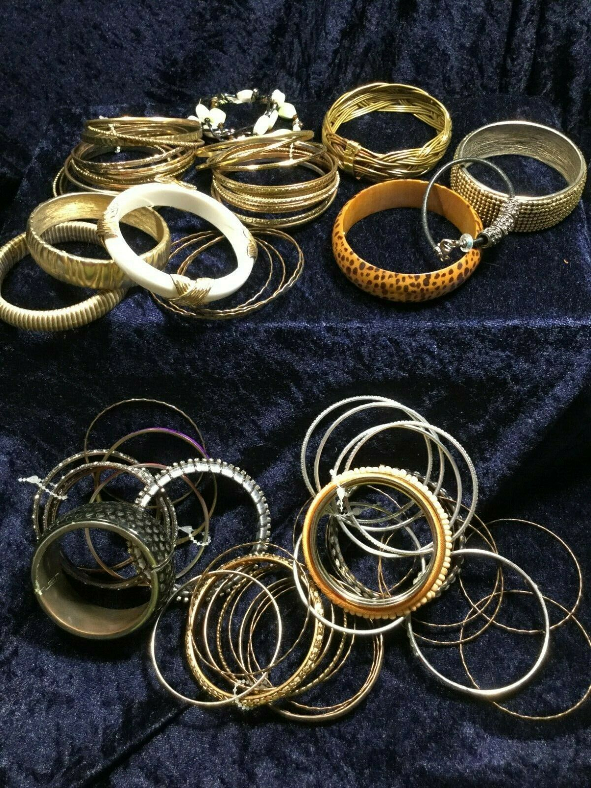 Lot 60+ Vintage Costume Bangle Bracelets - Various Widths, Colors, Styles