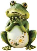 Outdoor Garden Statue Yard Patio Tall Sitting Frog Tall Decor Resin Ston... - $49.80