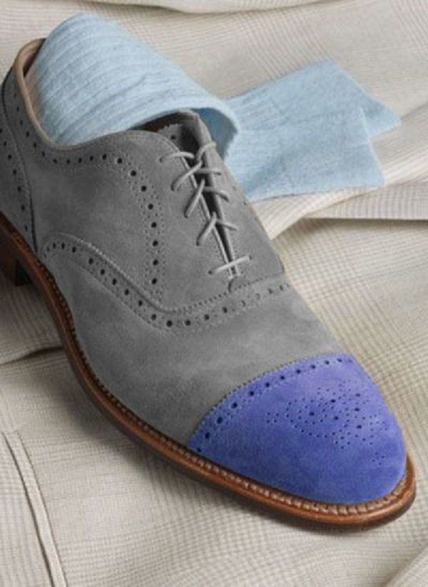 Handmade Men's Two Tone Heart medallion Grey & Purple Lace Up Oxford Suede Shoes