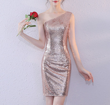 Rose Gold One Shoulder Short Sequin Dress Wedding Bridesmaid Short Sequin Dress