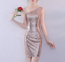 Rose Gold One Shoulder Short Sequin Dress Wedding Bridesmaid Short Sequin Dress image 1