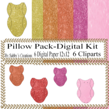 Glitter Pillow Pack4-Digtial Paper-Art Clip-Gift Tag-Jewelry-Gift Boxes - $5.00