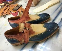 Men Tan Sole Three Tone Blue Beige Brown Single Buckle Strap Monk Leather Shoes - $139.99+