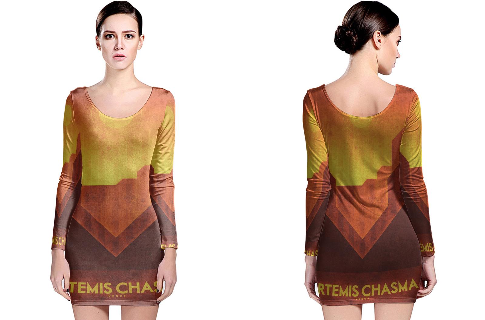 Venus artemis chasma long sleeve bodycon dress