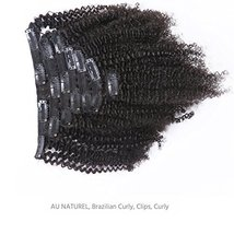 Anrosa Afro Kinky Clip ins Human Hair 1B Natural Black Afro Kinkys Curly Clip in image 3