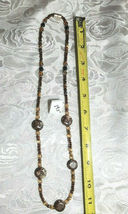 "Shades of Brown Agate and Seed Beaded Necklace 24.5""  (#20) image 3"
