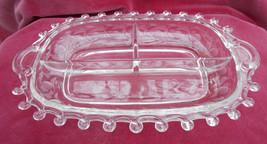Heisey Relish 3 Part Moonglo Lariat Tray Dish Elegant Crystal Signed - $25.24