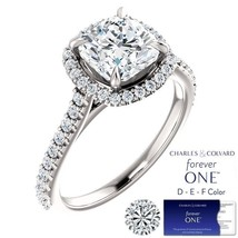 2.50 Carat Cushion Moissanite (Forever One) & Diamond Halo Style Ring in... - $2,495.00