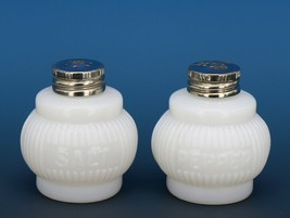 Vintage 40s / 50s Era Opaline Milk Glass Barrel Rib Salt & Pepper Set Small 2""