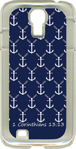 White Anchors 1 Corinthians 13:13 on Samsung Galaxy S4 Hard or Rubber Case Cover - $13.95