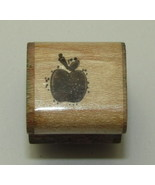 """Apple Rubber Stamp Mini Wood Mounted D.O.T.S. Vintage 3/4"""" - $2.71"""