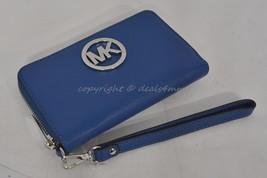 NWT MICHAEL Michael Kors Fulton Multifunction Phone Case Wristlet in Steel Blue - $109.00