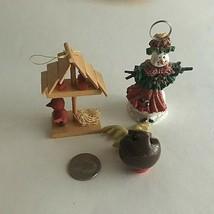 "Vintage Christmas Ornaments Ceramic Snowman Bobble Reindeer Birdtree 2"" ... - $12.82"