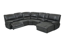 Global Furniture U1952-SEC-CH Charcoal Faux Leather Reclining Sectional w/Chaise