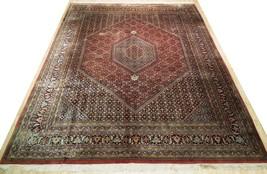 10 x 13 Brick Red Black New Indian Bijar Red Jaipur Wool Handmade Rug image 1