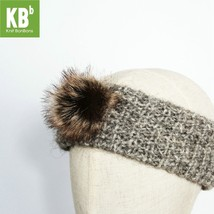 Grey with Brown Pom Pom Knitted Headband for Fall & Winter - $13.09