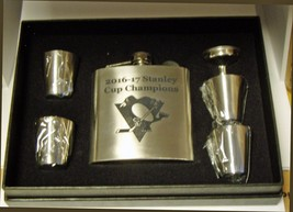 PITTSBURGH PENGUINS STANLEY CUP STAINLESS STEEL FLASK 4 SHOT GLASSES BLA... - €21,52 EUR